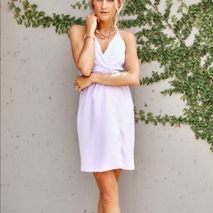 Pleated Front Lavender Cocktail Dress